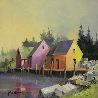 Huddled Huts oil on canvas by Paul Stone artist
