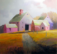 Quintet In Magenta oil on canvas by Paul Stone