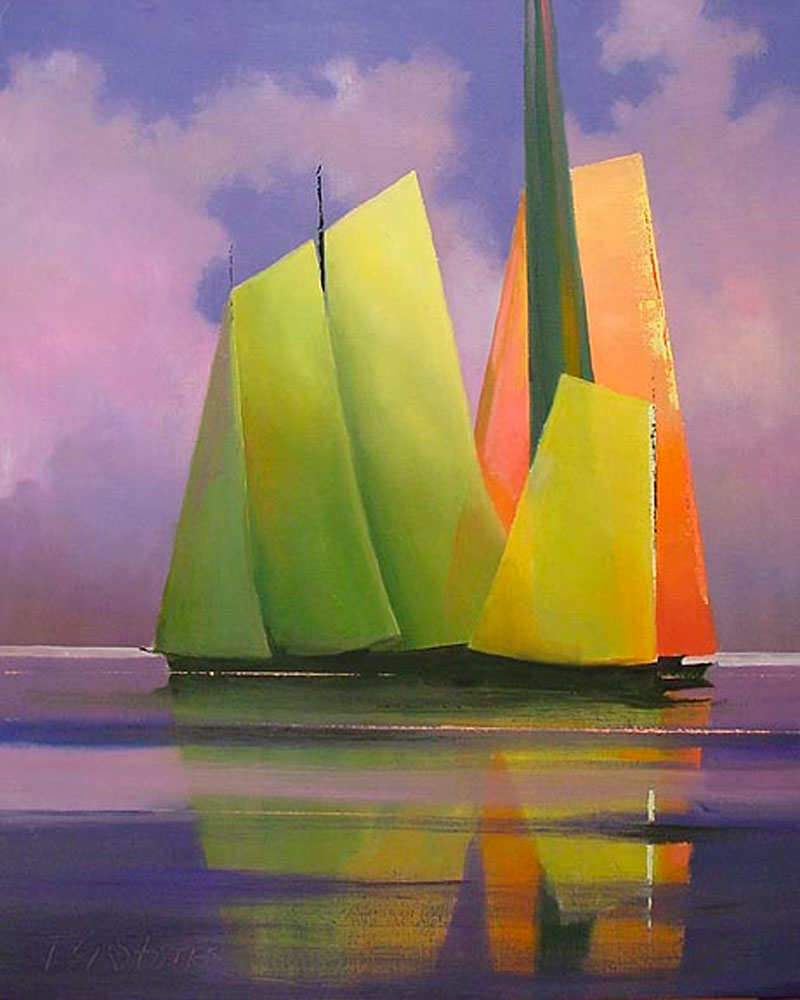 Sails At Sunset by Paul Stone